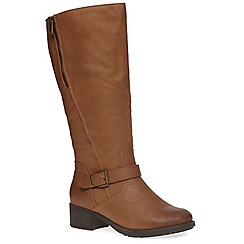 Evans - Extra wide fit tan zip long boot