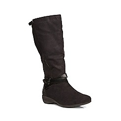 Evans - Black suedette wedge boot