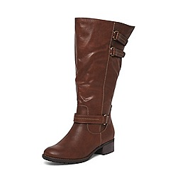 Evans - Extra wide fit brown triple buckle long boots