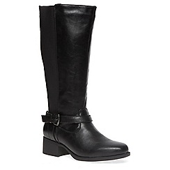 Evans - Extra wide fit black square toe riding boot