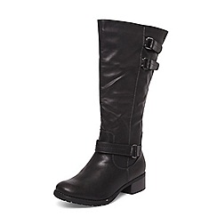 Evans - Extra wide fit black triple buckle long boots