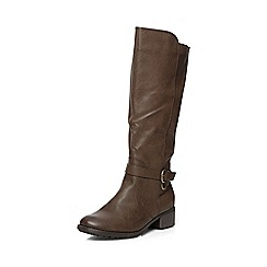 Evans - Extra wide fit brown buckle riding long boots