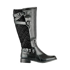 Evans - Black quilted rider boots