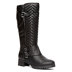 Evans - Extra wide fit black quilted long biker boot