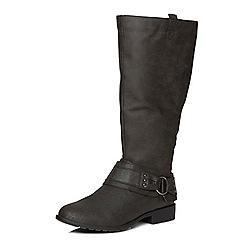 Evans - Black buckle detail boots