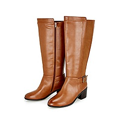 Evans - Extra wide fit brown elastic panel long boots