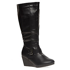 Evans - Extra wide fit black buckle wedge long boot