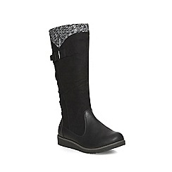 Evans - Evans extra wide black wedge knitted boots