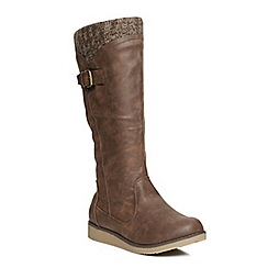 Evans - Evans  extra wide brown wedge knitted boots