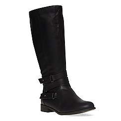 Evans - Extra wide fit black multi strap long boot