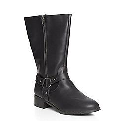 Evans - Extra wide fit black zip biker boots