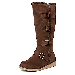 Evans - Brown multi buckle long boots
