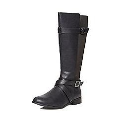 Evans - Black elastic rider long boots