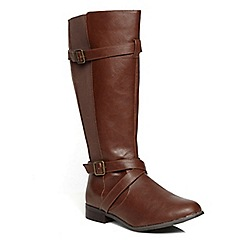 Evans - Brown elastic rider long boots