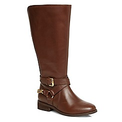 Evans - Extra wide fit brown chain leather long boot