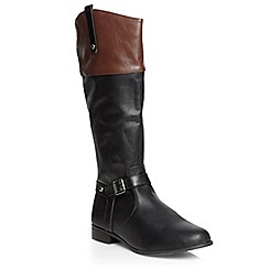 Evans - Extra wide fit black contrast long rider boots