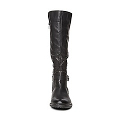 Evans - Black buckle rider long boot