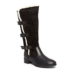 Evans - Extra wide fit black three buckle trimmed boots