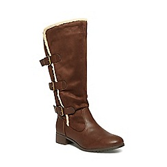 Evans - Extra wide fit brownthree buckle trimmed boots