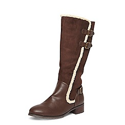 Evans - Brown borg lined rider boots