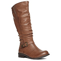 Evans - Extra wide tan ribbed buckle long boots