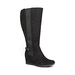 Evans - Extra wide fit black long wedge boots