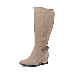 Evans - Extra wide fit grey long wedge boots