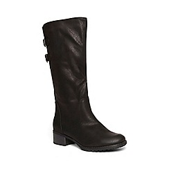 Evans - Extra wide fit black adjustable straps long boots