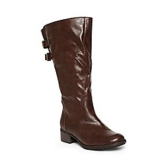 Evans - Extra wide fit brown adjustable straps long boots