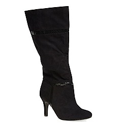 Evans - Black material mix long boot