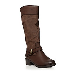 Evans - Extra wide fit chocolate brown riding boots