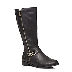 Evans - Black gold chain riding boots