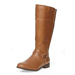 Evans - Tan metal trim strap boots