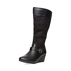 Evans - Black wedge heel long boot