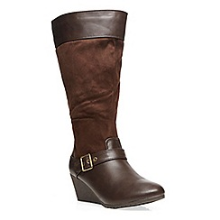 Evans - Chocolate wedge heel long boot
