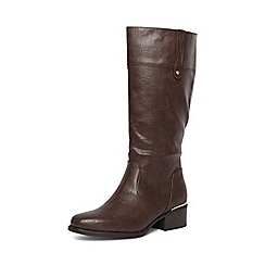 Evans - Extra wide fit brown square toe long boots