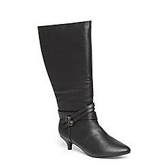 Evans - Extra wide fit black kitten heel buckle boots