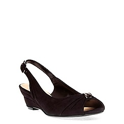 Evans - Extra wide fit black suedette metal trim wedge