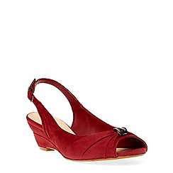 Evans - Extra wide fit berry suedette metal trim wedge