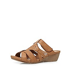 Evans - Extra wide fit tan comfort wedge