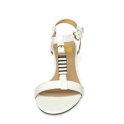 Evans - Extra wide fit white patent wedge