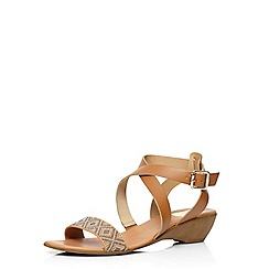 Evans - Extra wide fit tan leather wedge sandals