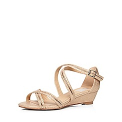 Evans - Extra wide fit rose gold strappy snakeskin textured wedges