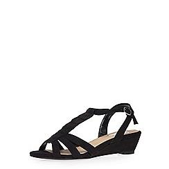 Evans - Extra wide fit black wedge sandal