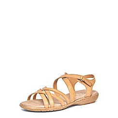 Evans - Extra wide fit brown comfort sandals