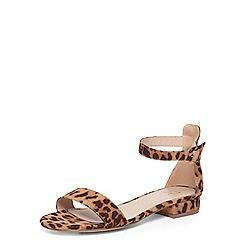 Evans - Extra wide fit brown leopard ankle strap sandals