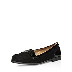 Evans - Extra wide fit black suedette loafers