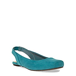 Evans - Extra wide fit teal square toe slingback