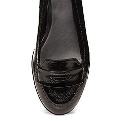 Evans - Black crinkle patent loafers