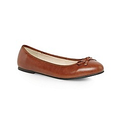 Evans - Extra wide fit tan ballerina pumps